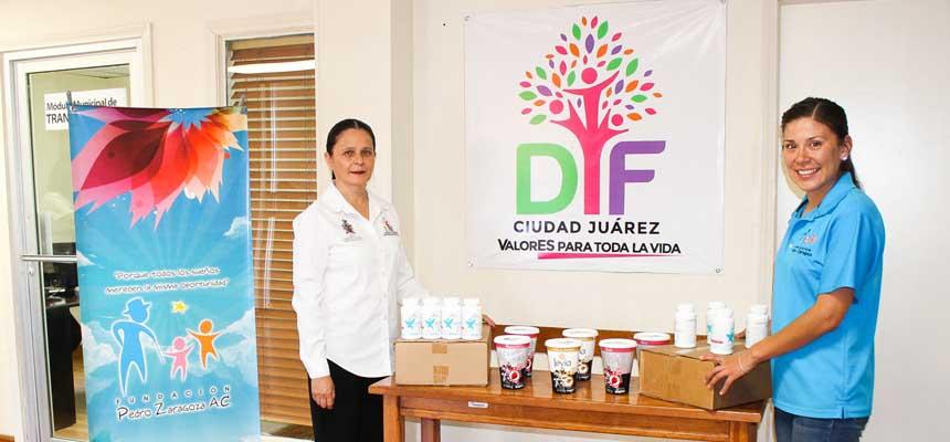 Donación de yogurt y vitaminas para el DIF - FPZ