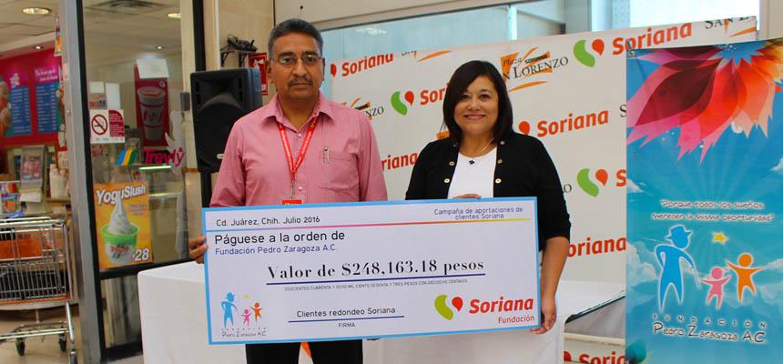 Entrega de cheque ¨Campaña de Aportaciones de Clientes Soriana¨. - FPZ