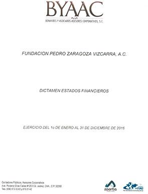 Dictámen 2016 - Fundación Pedro Zaragoza